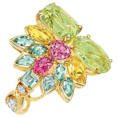 Dior Granville Chrysoberyl ring - JECR93001 - 750/1000 yellow gold, diamonds, chrysoberyls, blue-green tourmalines, yellow beryls, pink sapphire, pink spinel and demantoid garnet