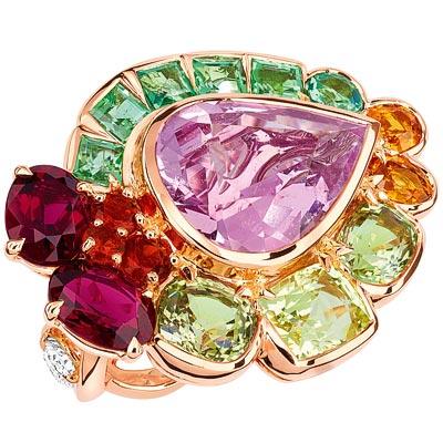 Dior Granville Morganite ring - JECR93006 - 750/1000 pink gold, diamonds, morganite, chrysoberyls, rubellites, yellow-green tourmalines, spessartite garnets and fire opals