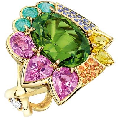 Dior Granville Péridot ring - JECR93005 - 750/1000 yellow gold, diamonds, peridot, pink and yellow sapphires, Paraiba-type tourmalines, sapphires and mandarin garnets