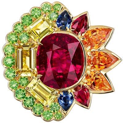 Dior Granville Rubellite ring - JECR93011 - 750/1000 yellow gold, diamonds, rubellite, chrysoberyls, spessartite and demantoid garnets, rubies and sapphires