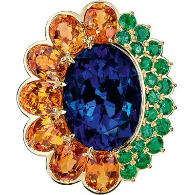 Dior Granville Tanzanite ring - JECR93008 - 750/1000 yellow gold, diamonds, tanzanite, spessartite garnets and emeralds
