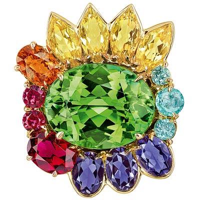 Dior Granville Tourmaline Verte ring - JECR93009 - 750/1000 yellow gold, diamonds, green tourmaline, yellow beryls, iolites, spessartite garnet, rubellite, Paraiba-type tourmalines and red spinels