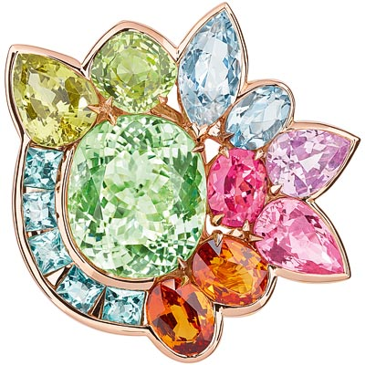 Dior Granville Tourmaline Verte ring - JECR93007 - 750/1000 pink gold, diamonds, green tourmaline, chrysoberyls, pink spinels, spessartite garnets, aquamarines, blue-green and pink tourmalines