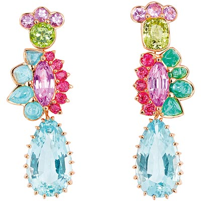 - Dior Granville Aigue-marine earrings, JECR93004 - 750/1000 pink gold - diamonds - aquamarines - pink spinels - Paraiba-type tourmalines - chrysoberyl - red spinels and green tourmaline