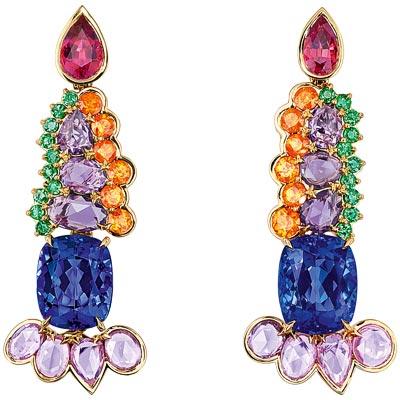 -  Dior Granville Tanzanite earrings - JECR93010 - 750/1000 yellow gold - diamonds - tanzanites - purple sapphires - pink spinels - spessartite garnets and emeralds
