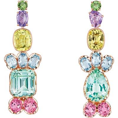 - Dior Granville Tourmaline Verte earrings - JECR93003 - 750/1000 pink gold - diamonds - green tourmaline - chrysoberyls - blue and pink tourmalines - aquamarines - purple sapphires and tsavorite garnet