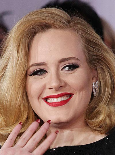 - Adele at the 54<sup>th</sup> Ceremony of the Grammy's Awards