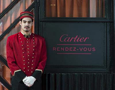 A Cartier Doorman welcomes you atthe Montana Hotel inthe heart ofSt Germain