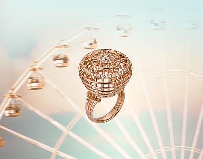 Cartier, Morganite cabochon ring set withperls, fromthe Paris Nouvelle Vague Collection