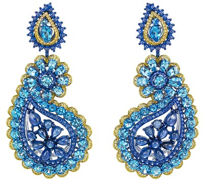 -  <b>Earrings</b> in18ct white gold and titanium set withbrilliant-cut topazs (21.9cts), sapphire cabochons (17.1cts) and orange and blue brilliant-cut sapphires - <b>Ref.: 849751-9001</b>