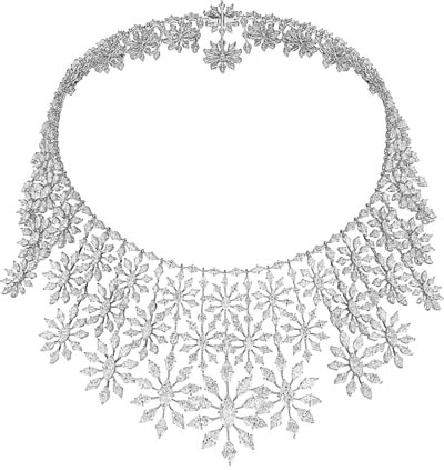 Necklace fromthe Green Carpet Collection in18ct Fairmined gold set withmarquise-cut diamonds. All diamonds are sourced froma producer who is anRJC certified member. Ref.: 819860-1001