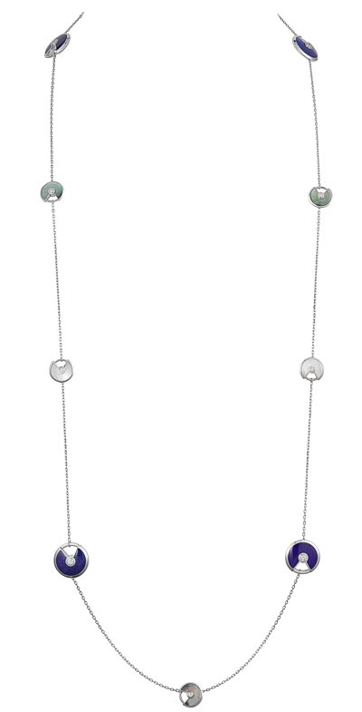 - <b>Amulette de Cartier Long Necklace - </b> Extra-small model and small model, white gold– lapis lazuli,  white and grey mother-of-pearl, diamonds