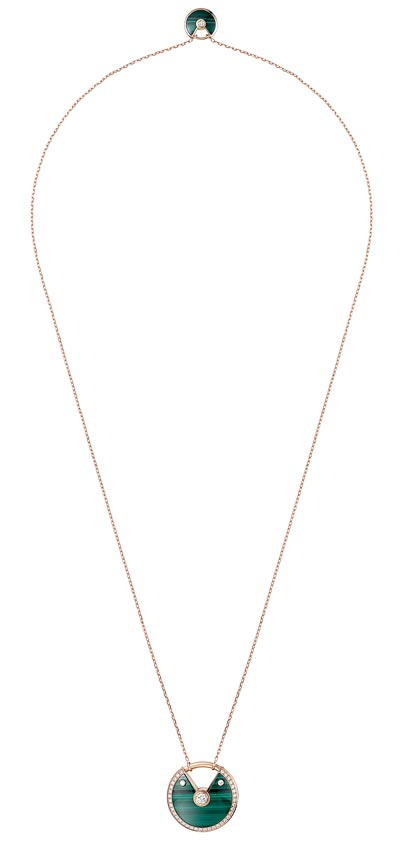 - <b> Amulette de Cartier Pendant - </b> Medium Model - Pink gold, malachite, diamonds, chain inpink gold