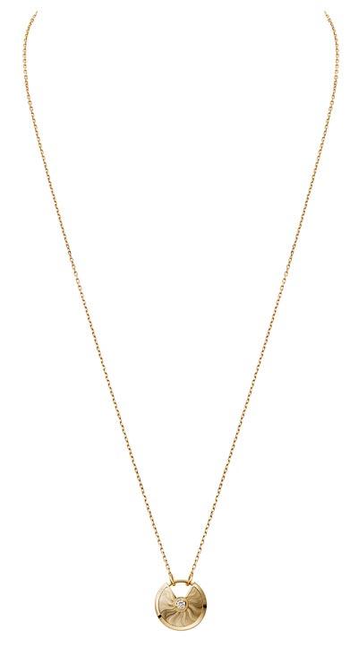 - <b>Amulette de Cartier Pendant - </b> Small Model - Yellow gold, adiamond, chain inyellow gold
