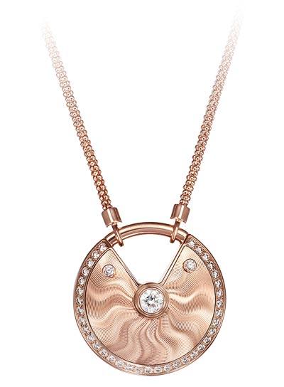 - <b>Amulette de Cartier Pendant - </b> Medium Model,  Pink gold, diamonds, chain inpink gold