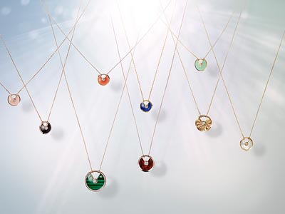 From left to right and top to bottom: Extra-small Model: Pink gold, pink opal, adiamond, chain inpink gold - Pink gold, carnelian, adiamond, chain inpink gold - Yellow gold, chrysoprase, adiamond, chain inyellow gold - Pink gold, onyx, adiamond, chain inpink gold - Yellow gold, lapis lazuli, adiamond, chain inyellow gold - Small Model: Yellow gold, adiamond, chain inyellow gold - Extra-small Model: Yellow gold, white mother-of-pearl, adiamond, chain inyellow gold - Medium Model: Pink gold, malachite, diamonds, chain inpink gold - Small Model: Pink gold, snakewood, adiamond, chain inpink gold