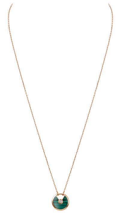 - <b>Amulette de Cartier Pendant - </b> Small Model - Pink gold, malachite, adiamond, chain inpink gold