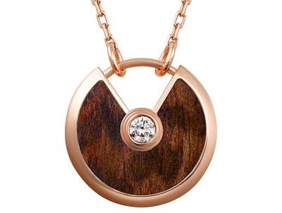 Amulette de Cartier Pendant, Small Model - Pink gold, snakewood, adiamond, chain inpink gold