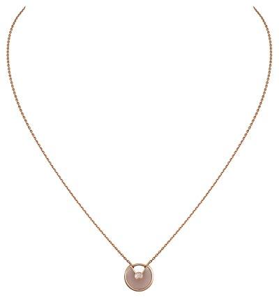 - <b>Amulette de Cartier Pendant - </b> Extra-small Model - Pink gold, pink opal, adiamond, chain inpink gold