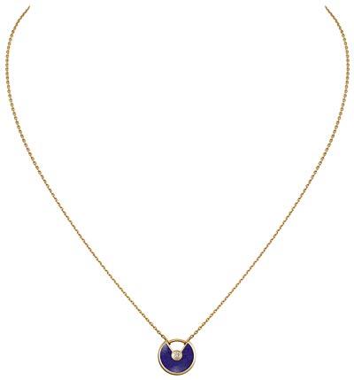- <b>Amulette de Cartier Pendant - </b> Extra-small Model - Yellow gold, lapis lazuli, adiamond, chain inyellow gold