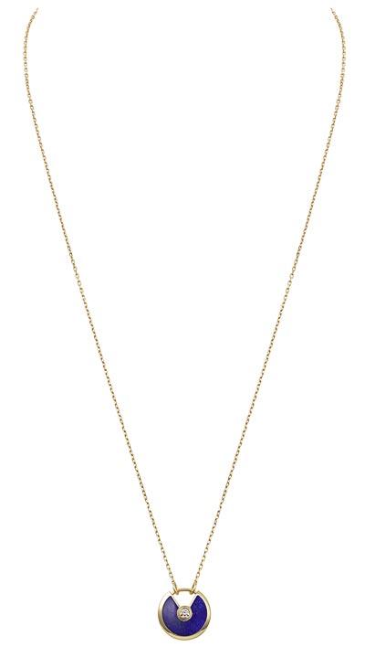 - <b>Amulette de Cartier Pendant - </b> Small Model - Yellow gold, lapis lazuli, adiamond, chain inyellow gold