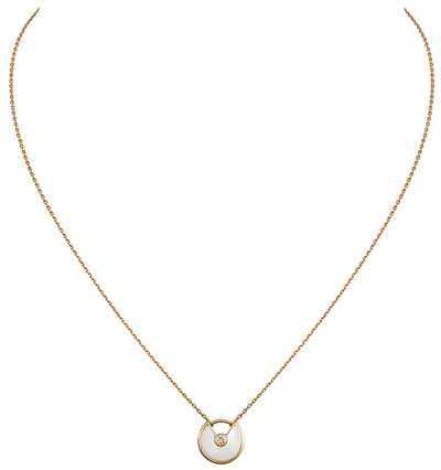 - <b>Amulette de Cartier Pendant - </b> Extra-small Model - Yellow gold, white mother-of-pearl, adiamond, chain inyellow gold