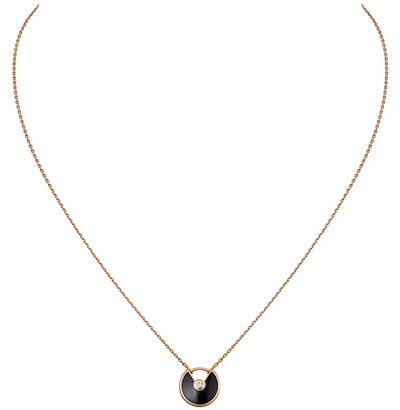 Amulette de Cartier Pendant, Extra-small Model – Pink gold, onyx, adiamond, chain inpink gold