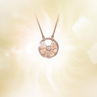 - <b>Amulette de Cartier Pendant - </b> Medium Model - Pink gold, diamonds, chain inpink gold