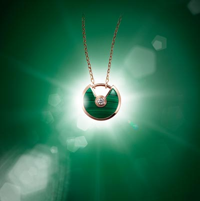 - <b>Amulette de Cartier Pendant - </b> Extra-small Model - Pink gold, malachite, adiamond, chain inpink gold