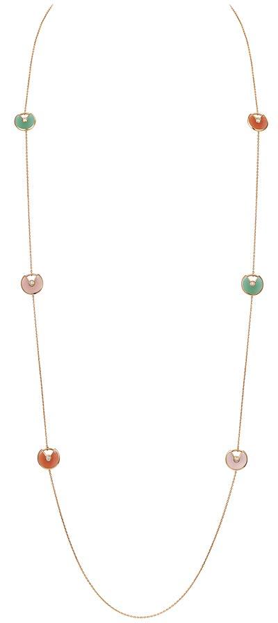 - <b>Amulette de Cartier Long Necklace - </b>Extra-small model, pink gold, pink opal, carnelian, chrysoprase, diamonds