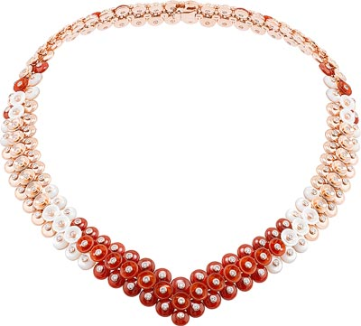 Bouton d'or necklace, pink gold, diamonds, carnelian, mother-of-pearl