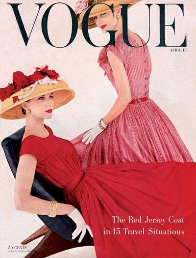 - Model wearing aPaillettes bracelet, American Vogue,  april 1956, cover