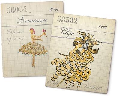 - Card for aBallerina clip, 1947 Van Cleef &Arpels Archives <br>Card for aPaillettes clip, 1948 Van Cleef &Arpels Archives