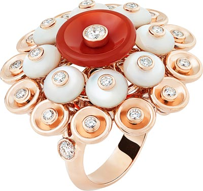 Bouton d'or ring, pink gold, diamonds, carnelian, mother-of-pearl