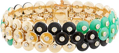 Bouton d'or bracelet, yellow gold, diamonds, onyx, chrysoprase