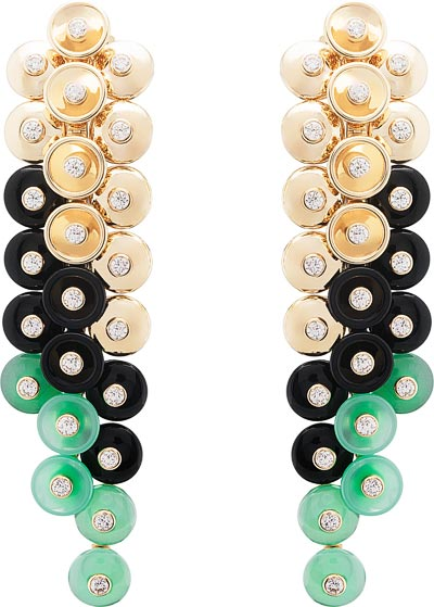 - Bouton d'or earrings, yellow gold, diamonds, onyx, chrysoprase