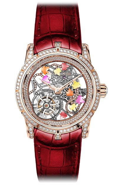 - <b>Roger Dubuis Excalibur Brocéliande Pink gold</b> - Case pink gold - Bezel set with 60 brilliant-cut diamonds approx. 1.09 cts - Lugs set with 30 brilliant-cut diamonds approx. 0.65 cts - Crown set with 1 rose-cut diamond approx. 0.42 cts - Dial skeleton with Ivy ornaments set with 58 brilliant-cut diamonds approx. 0.15 cts and semi-precious gemstones Spessartite Garnet, Yellow Beryl, Red Rhodolite Garnet, Rubellite tourmaline - Pink gold flange set with 157 brilliant-cut diamonds approx. 0.91 cts