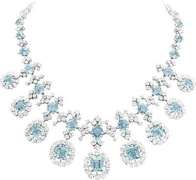 Necklace, 1949-51 Platinum, white gold, round diamonds, aquamarines
