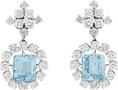 Earrings, 1949-51 Platinum, white gold, round diamonds, aquamarines