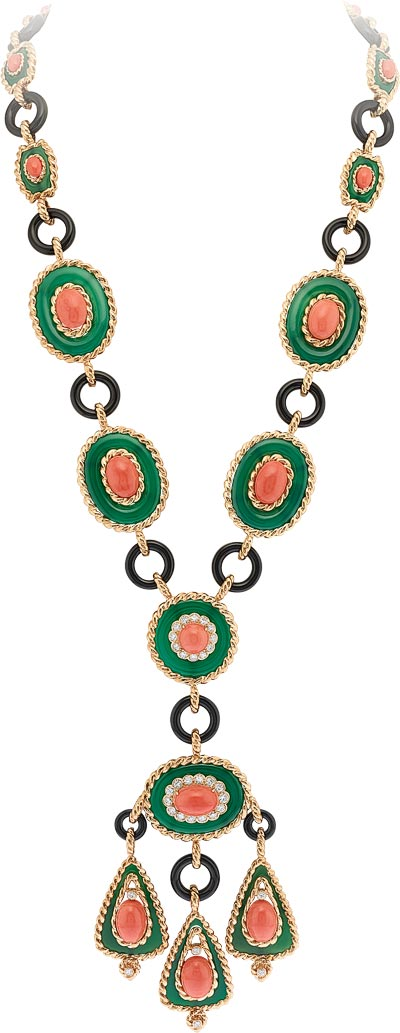 Necklace and earrings, 1972 Yellow gold, platinum, round diamonds, cabochon-cut coral, onyx, green chalcedony