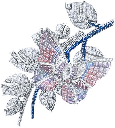 Papillon Mystérieux clip White gold, round, baguette-cut and square-cut diamonds, baguette-cut blue and mauve sapphires, Vitrail Mystery Set colored sapphires, one marquise-cut D IF type 2A diamond of2.29 carats