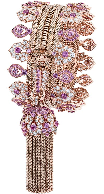 Zip Antique necklace, transformable into a bracelet Pink gold, round diamonds, round pink sapphires