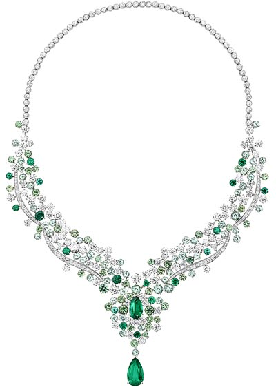Dorothée Gilbert wears a18K white gold necklace set with1 pear-shaped emerald fromZambia (approx. 5.31 cts), 1 pear-shaped emerald fromZambia (approx. 2.28 cts), 223 brilliant-cut diamonds (approx. 25.68 cts), 37 round-cut demantoid garnets (approx. 12.64 cts), 53 round-cut green tourmalines (approx. 9.39 cts), 16 round-cut emeralds (approx. 3.26 cts), 8 triangle-cut diamonds (approx. 0.80 cts), 2 triangle-cut demantoid garnets (approx. 0.60 cts), 1 triangle-cut emeralds (approx. 0.20 ct) and 1 triangle-cut green tourmaline (approx. 0.20 cts) - Ref.: G37M4300