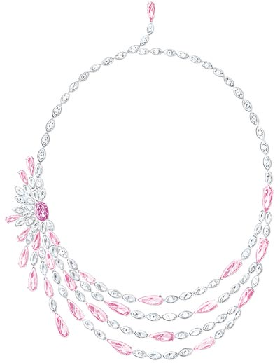 Marina Kaye wears a18K white gold necklace set with1 oval-cut unheated pink sapphire fromMadagascar (approx. 10.18 cts), pear-shaped pink tourmalines, marquise-cut diamonds and brilliant-cut diamonds - Ref.: G37M9200