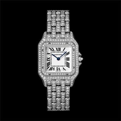 - <b>Panthère de Cartier watch</b> Medium Model White Gold, Paved withBriilliant-Cut Diamonds - Ref.: HPI01130