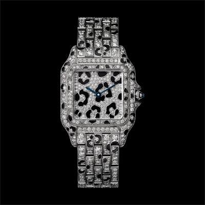 - <b>Panthère de Cartier watch</b> Medium Model White Gold, Briilliant-Cut Diamonds &Black Enamel Spots - Ref.: HPI01096