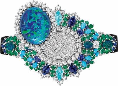 Dior Exquise Opal High Jewellery Timepiece  750/1000 white gold, 950/1000 platinum, diamonds,black opals, emeralds, turquoises, sapphires and Paraiba-type tourmalines Quartz movement - Ref.: JOLY93022