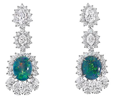 - Dior Fascinante Opal earrings - <br />750/1000 white gold, diamonds and black opals - Ref.: JDDE93055