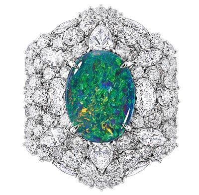 - Dior Fascinante Opal ring - 750/1000 white gold, diamonds and black opal - Ref.: JDDE93054