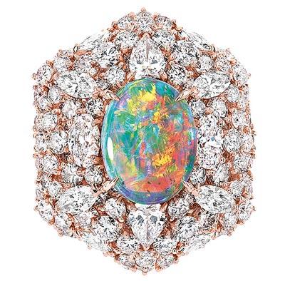 - Dior Fascinante Opal Ring - 750/1000 pink gold, diamonds and light opal - Ref.: JDDE93057